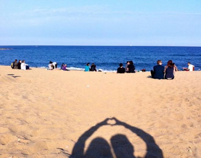 het strand van Barcelona